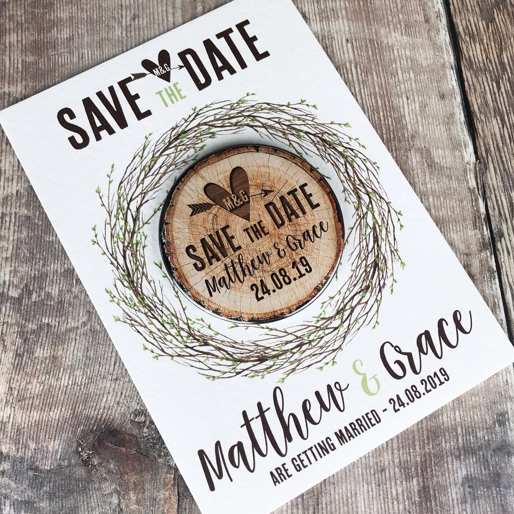 Woodland Tree Stump Save The Date Magnets with Postcards - Spring Leaves