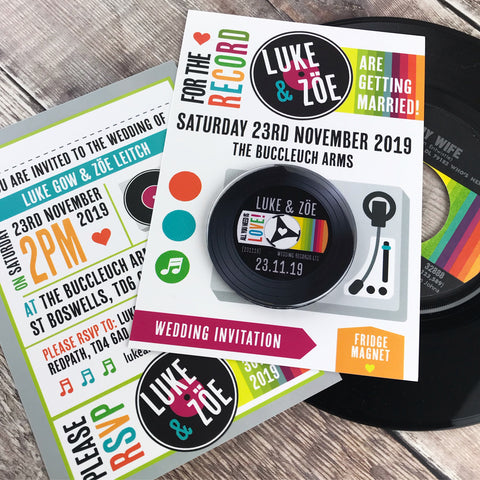 Vinyl Record Inspired Wedding Invitations with Fridge Magnets Design 3