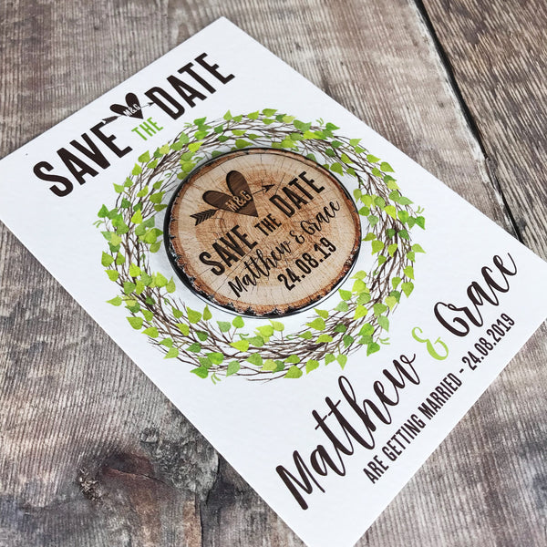 Woodland Tree Stump Save The Date Magnets with Postcards - Green Leaves