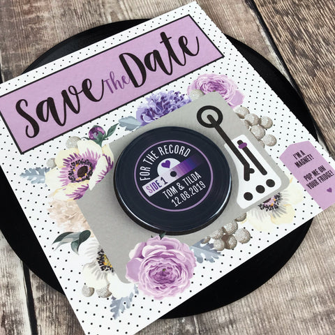Floral Vinyl Record Inspired Save The Date Magnets with Square Backing Cards Purple