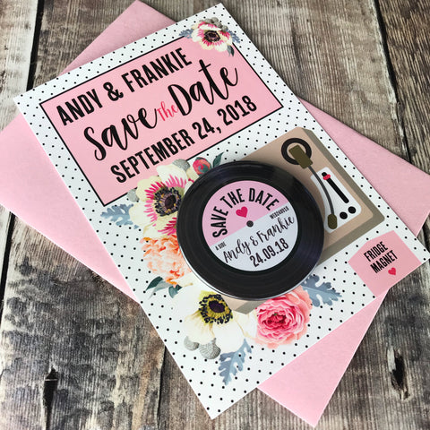 Floral Vinyl Record Inspired Save The Date Magnets with Postcards