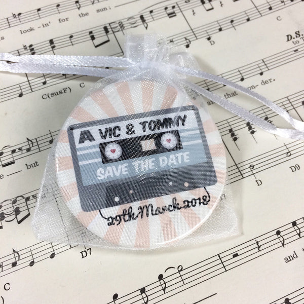 Wedding Save The Date Magnets Cassette Mix Tape Design