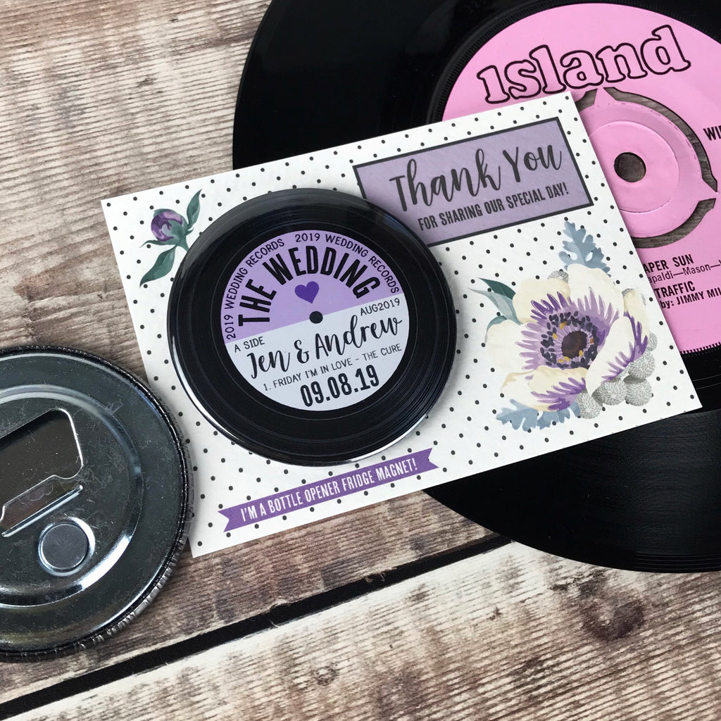 Wedding Favour Bottle Opener Magnets Floral Vinyl Record Design with Mini Backing Cards (Purple)