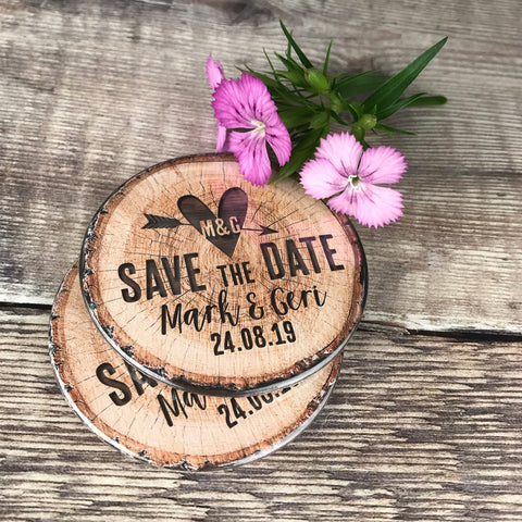 Save The Date Magnets Woodland Tree Stump Design