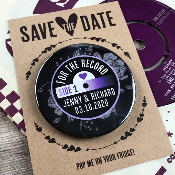 Save The Date Magnets Vinyl Record Design (Etched Floral) with Mini Backing Cards