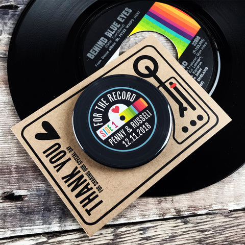 Wedding Favour Bottle Opener Magnets Vinyl Record Rainbow Design 2 with Mini Turntable Backing Cards