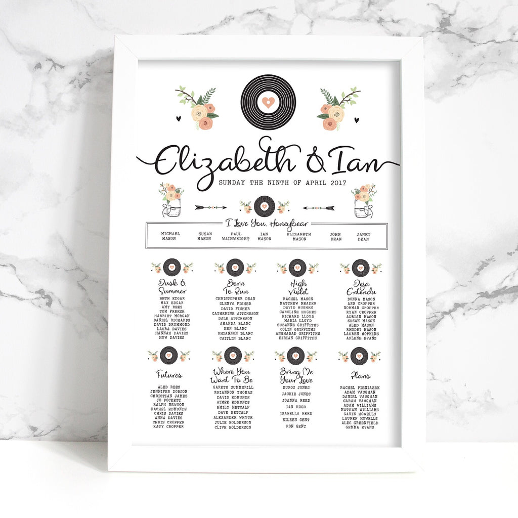 Wedding Table Plan - Printed Romantic Vinyl Record Design