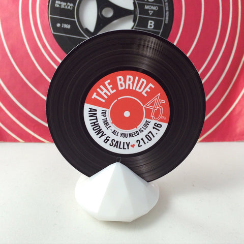 Wedding Name Place Cards - Vinyl Record Design