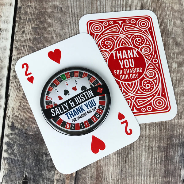 Wedding Favour Bottle Opener Fridge Magnets Las Vegas Roulette Design