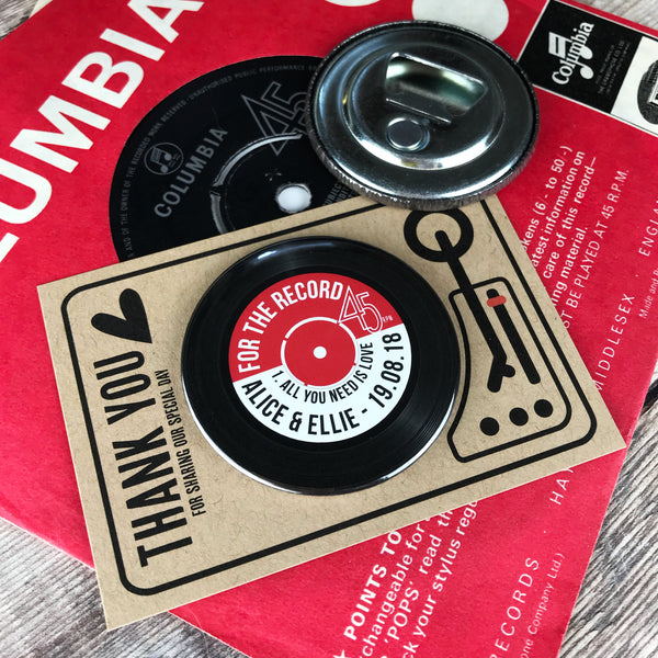 Wedding Favour Bottle Opener Magnets Vinyl Record Design with Mini Turntable Backing Cards