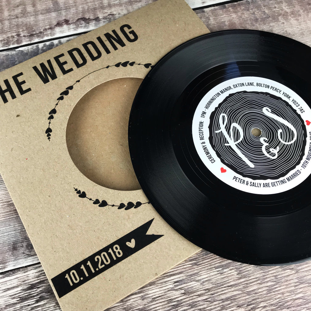 Wedding/ Party Invitations - REAL Vintage Vinyl Record (Tree Stump Turntable Range)