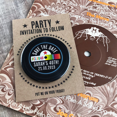 Birthday Party Save The Date Magnets Vinyl Record Design with Mini Backing Cards