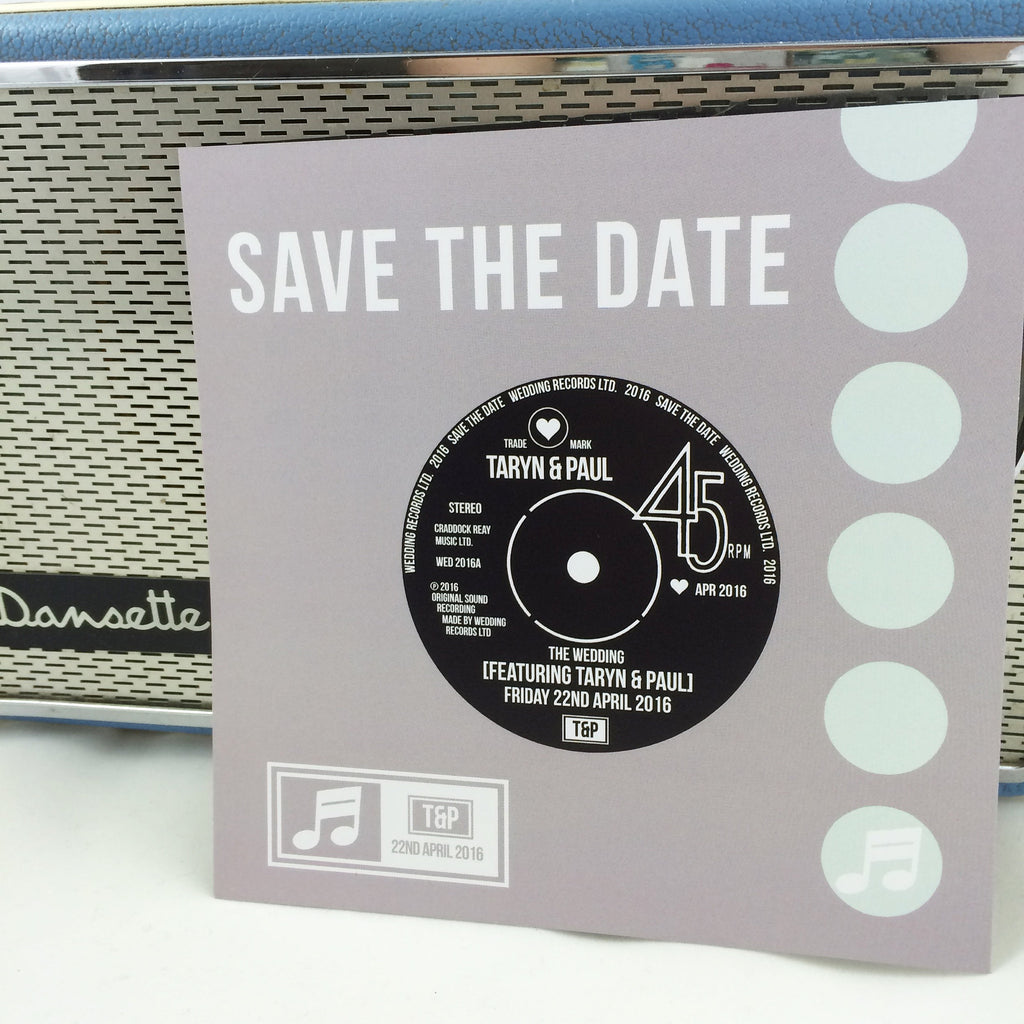 Vinyl Record Inspired Wedding Save The Date Cards