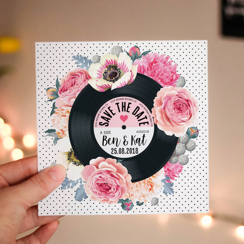Floral Vinyl Record Inspired Wedding Save The Date Cards