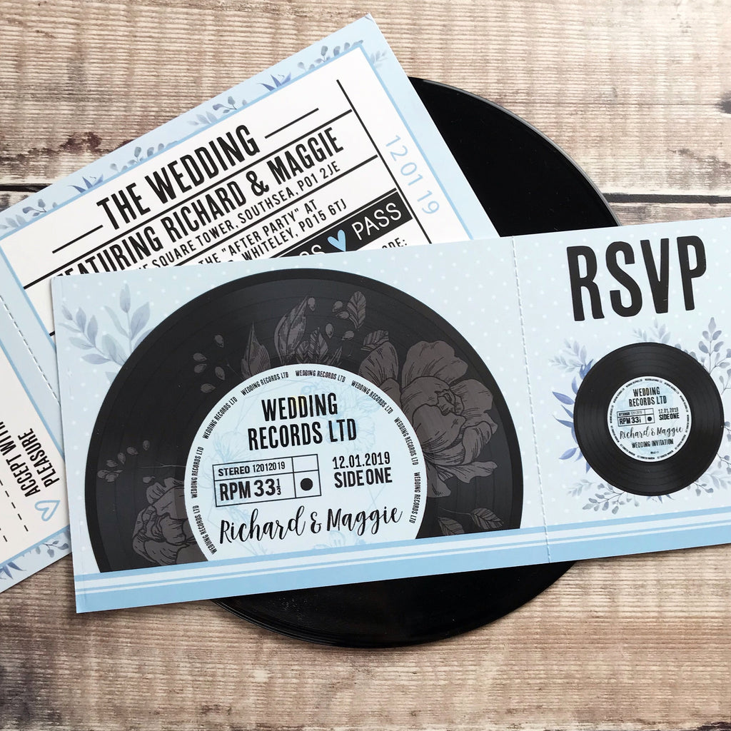 Gig/ Concert Ticket Inspired Wedding Invitations - Vinyl Record Design 3