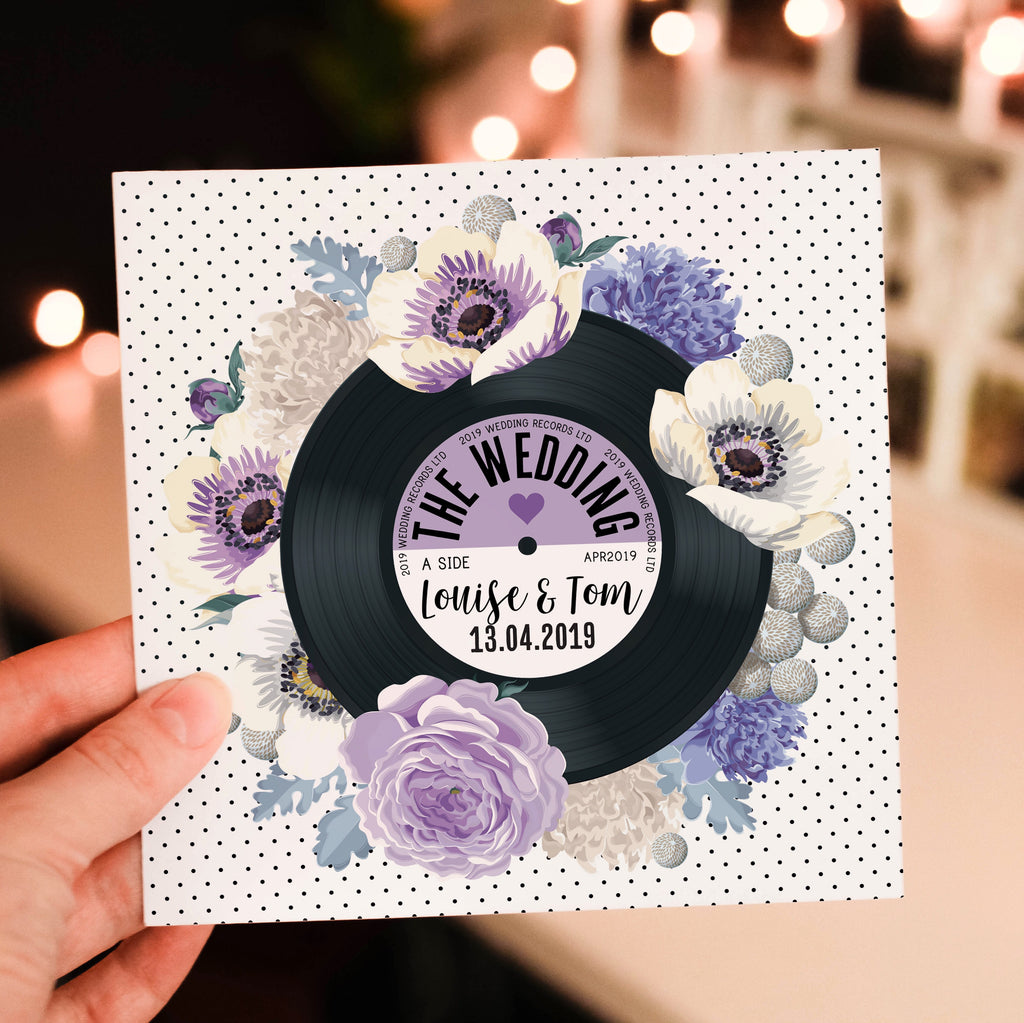Floral Vinyl Record Inspired Wedding Invitations Purple