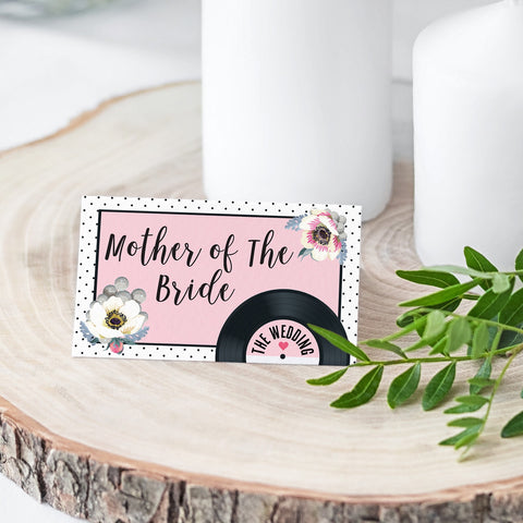 Wedding Name Place Cards - Floral Vinyl Record Design Pink