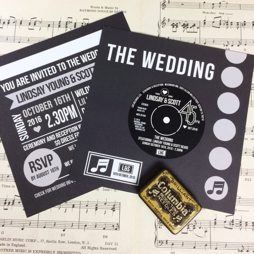 Vinyl Record Inspired Wedding Invitations Love Me Do Designs
