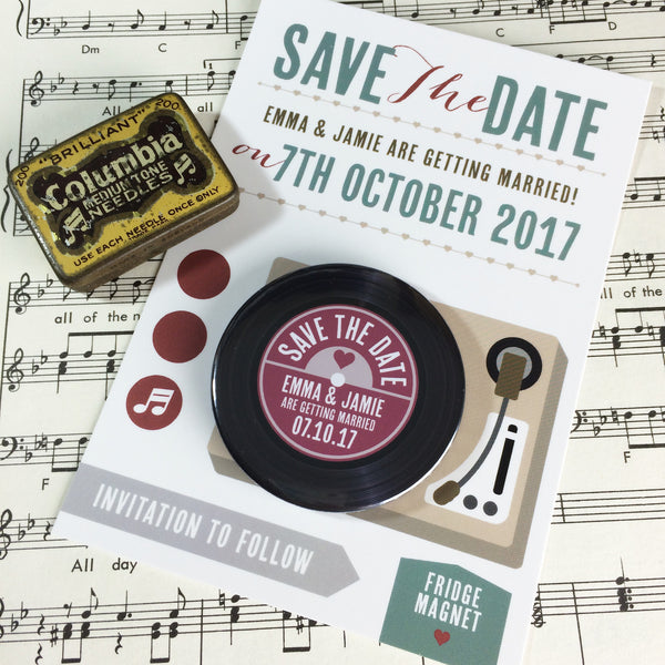 Vinyl Record Save The Date Magnets with Postcards Version 2