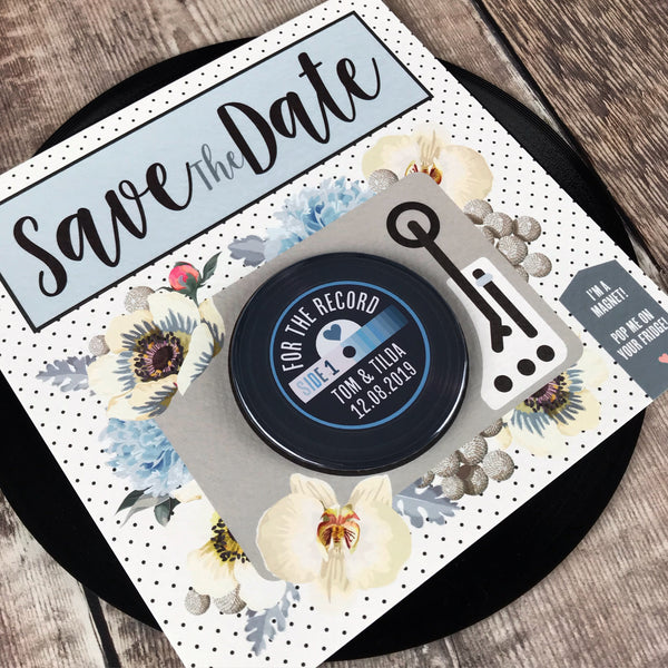 Floral Vinyl Record Inspired Save The Date Magnets with Square Backing Cards Blue