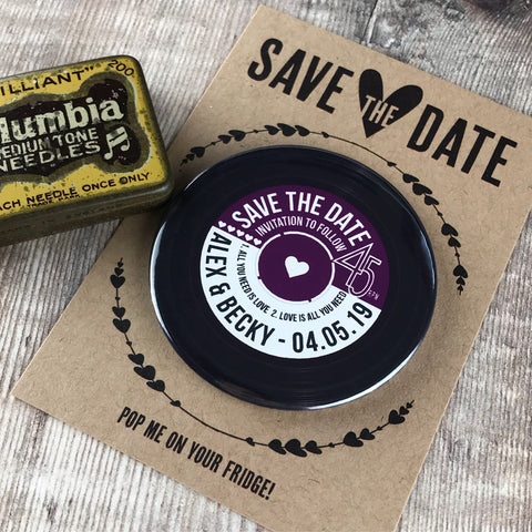 Save The Date Magnets Vinyl Record Design with Mini Backing Cards