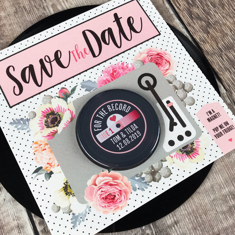Floral Vinyl Record Inspired Save The Date Magnets with Square Backing Cards Pink