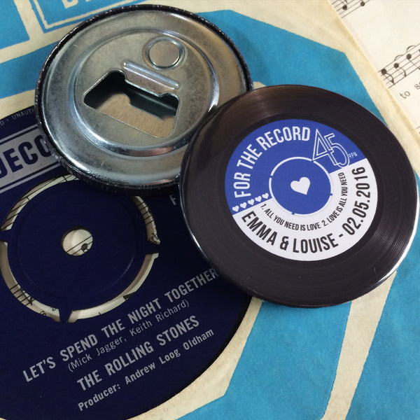Wedding Favour Bottle Openers - Vinyl Record Design