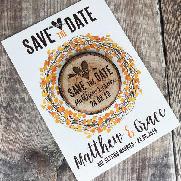 Woodland Tree Stump Save The Date Magnets with Postcards - Orange/ Autumn Leaves