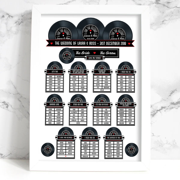 Wedding Table Plan - Printed 1950s Jukebox Vinyl Record Design