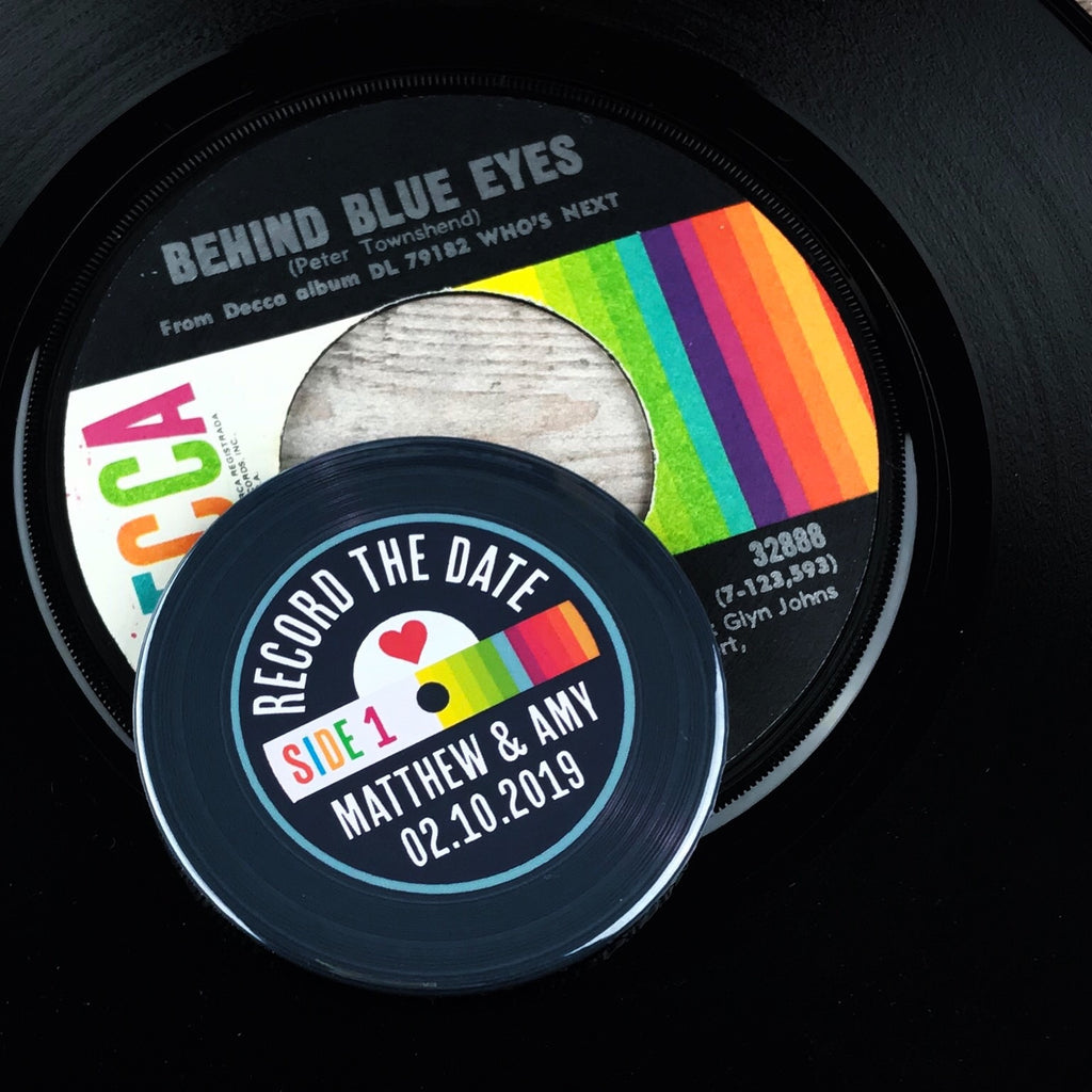 Save The Date Magnets Vinyl Record Design 5 (Rainbow)