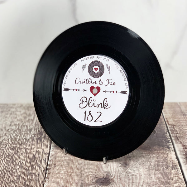 "Real 7"" Vinyl Wedding Table Numbers/ Names - Romantic Vinyl Record Design"