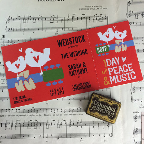 Woodstock Festival Ticket Inspired Wedding Invitations