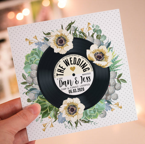 Floral Vinyl Record Inspired Wedding Invitations Succulent Eucalyptus Greenery
