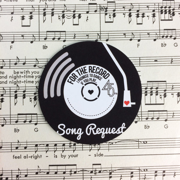 Wedding Song Request Cards - Vinyl Record Inspired Design (Pack of 10)