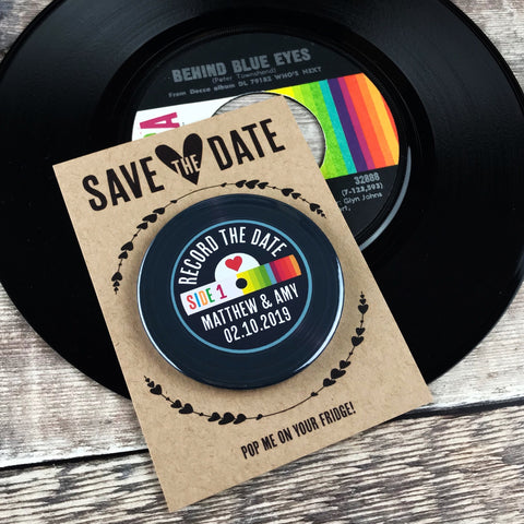 Save The Date Magnets Vinyl Record Design 2 (Rainbow) with Mini Backing Cards