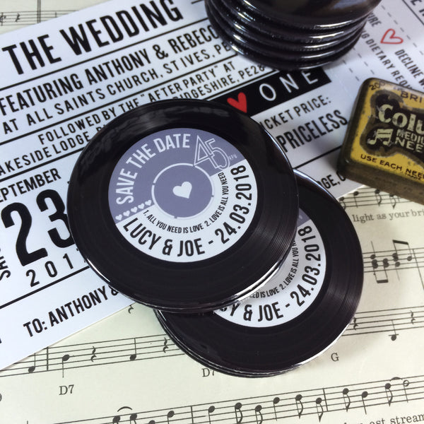 Save The Date Magnets Vinyl Record Design