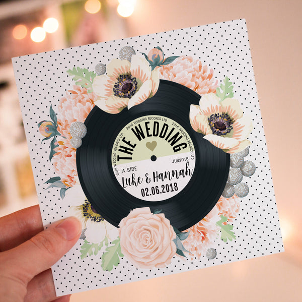 Floral Vinyl Record Inspired Wedding Invitations Peach & Green