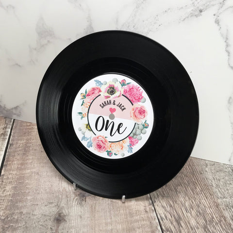 "Real 7"" Vinyl Wedding Table Numbers/ Names - Floral Vinyl Record Design"