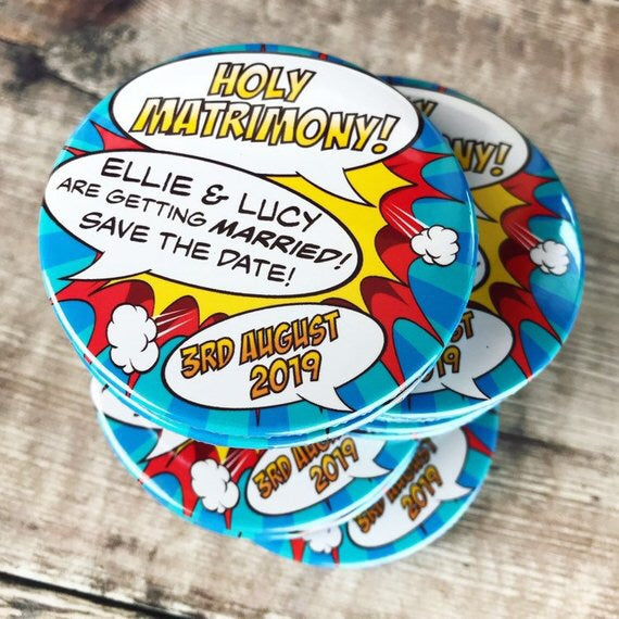 Save The Date Magnets Comic Book Holy Matrimony! Design