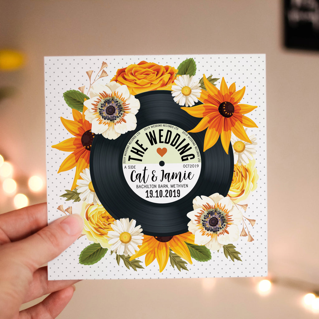 Floral Vinyl Record Inspired Wedding Invitations (Sunflowers) Summer Autumn