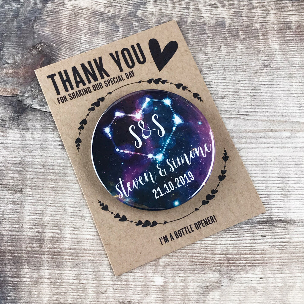 Wedding Favour Bottle Opener Fridge Magnets Celestial Galaxy Design