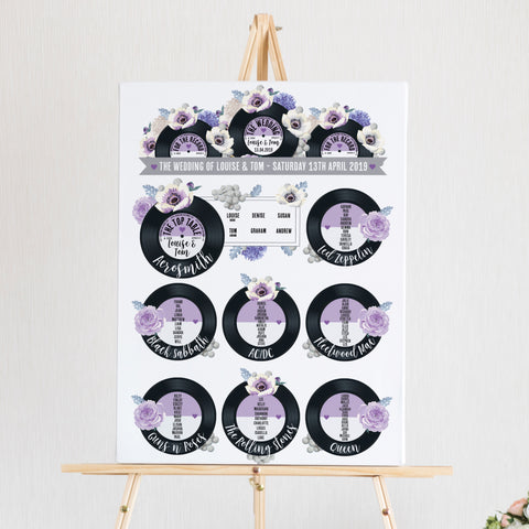 Wedding Table Plan - Printed Floral Vinyl Record Design Purple