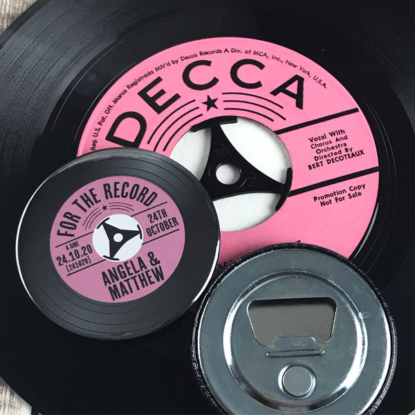 Wedding Favour Bottle Openers - Pink Vinyl Record Design