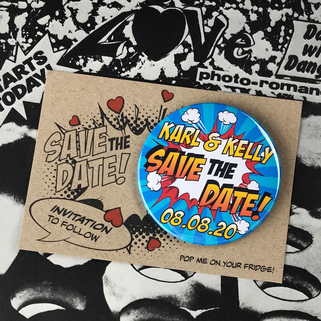 Save The Date Magnets Comic Book Design with Mini Backing Cards