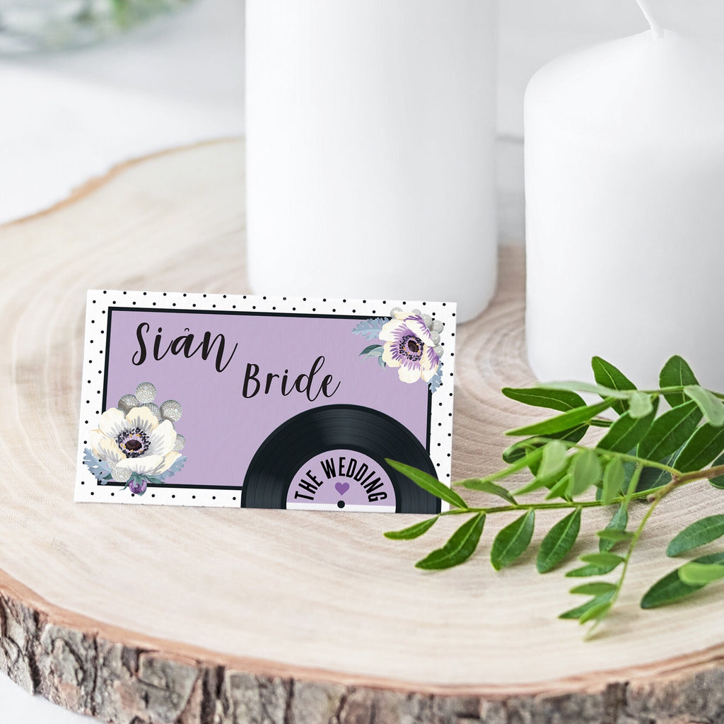 Wedding Name Place Cards - Floral Vinyl Record Design Purple