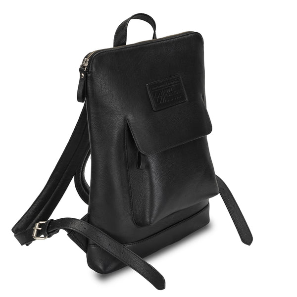 Black Color Backpack in pebble grain leather