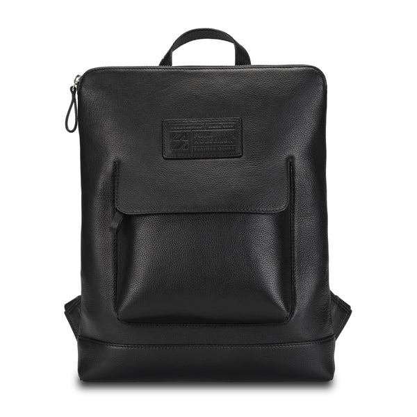 Black Backpack in pebble grain leather