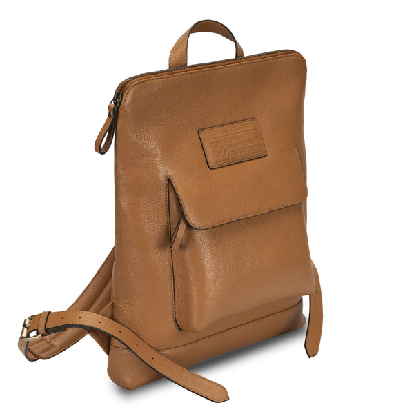 Tan Backpack in pebble grain leather