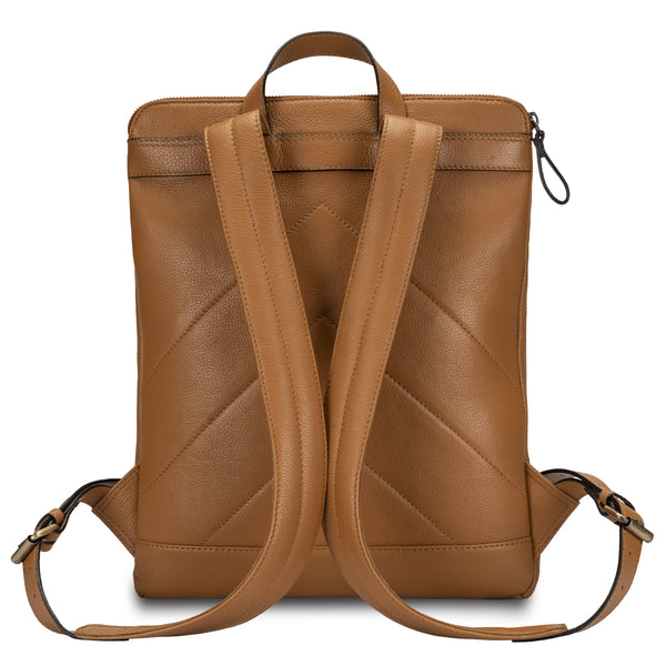 Tan Color Backpack in pebble grain leather