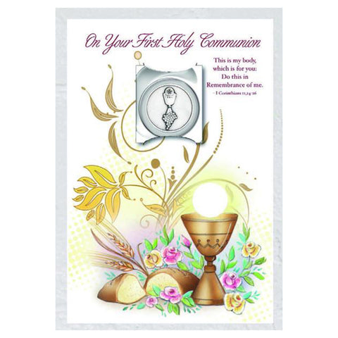 """On Your First Communion"" Card with Pocket Token"